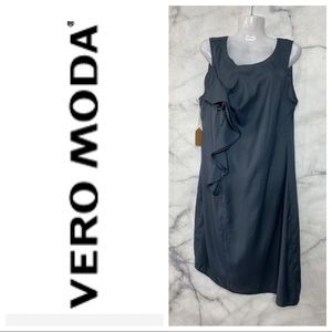 VERO MODA ASYMMETRICAL GREY DRESS LARGE